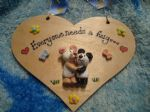 2 character 3d Bear Heart Sign Any Phrasing Personalised & Customised Plaque Handmade To Order Everyone Needs A Hug